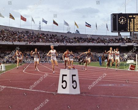 David Hemery (402) of Great Britain sets world record of 48.1 seconds in winning 400-meter hurdles of the Mexico City Olympics on . Gerhard Hennige (16) of West Germany was second, and John Sherwood (422) of Great Britain was third. Others: Ron Whitney (316) USA; V. Skomarokhov (828) Russia; Roberto Frinolli (506) Italy; Geoff Vanderstock (312) USA and Rainor Schubert (46), West Germany competing in the Summer Games