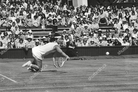 Rosemary Casals Rosemary Casals, San Francisco, Calif., takes a tumble on the Center Court on her way to an exciting victory over Australia's Leslie Hunt in the second round women's singles of the Wimbledon Lawn Tennis championships in London on