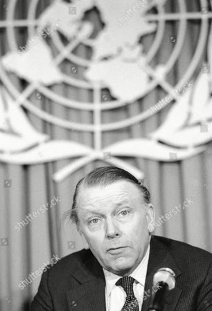 British Foreign Minister Sir Francis Pym speaks to the press at the United Nations in New York