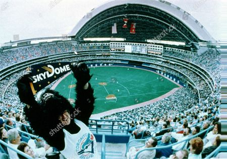 Allen Toronto fan Doug Allen, dressed as a gorilla, holds up a flag in the top deck of the SkyDome as he celebrates the first baseball game playedat the Toronto Blue Jays' new home in front of 52,000 spectators in Toronto, Ontario, Canada, . The Skydome is the world's first and only retractable roof Dome stadium. The Blue Jays lost 5-3 to the Milwaukee Brewers