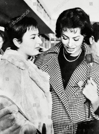 Sophia Loren, Maria Scicolone Mussolini Italian actress Sophia Loren right saying goodbye to her sister, Maria, at Rome's Ciampino Airport