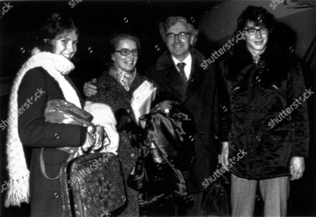 Stock Picture of The British winner of the 1974 Nobel Prize for Physics, Antony Hewish, arrives with his family at Armanda Airport in Stockholm, Sweden on