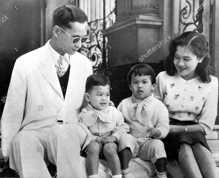King Bhumibol Adulyadej, Queen Sirikit, Prince Vajiralongkorn, Princess Ubol Ratana The Royal family of Thailand poses for a recent photograph on the steps of Bangkok's Chitralda Palace, . With King Bhumibol Adulyadej, 27, and Queen Sirikit, 23, are their Children, Crown Prince Vajiralongkorn, 2, left, and Princess Ubol Ratana, 3