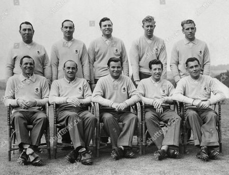 The British Ryder Cup team poses at the Lindrick, Yorkshire, Golf Club after practice rounds for the Britain Vs United States Ryder Cup match to be held on October 4-5. Left to right (back row): Harry Bradshaw, Ralph Peter Mills, Peter Allis, Bernard John Hunt and Harry Weetman. Left to right (front row): Herbert Gustavus Faulkner, Eric Chalmers Brown, David James Rees, Ken Bousfield, and Christy O'Connor Rees captains the team