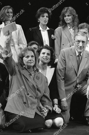 """For a tribute to the late French director Francois Truffaut, actors from his films gathered at Cannes, France, at the Cannes Film Festival The group gathered for the presentation of the movie """"Vivement Truffaut"""" are back row, left to right: Chantale Mercier, Dany, Jacqueline Bisset, from U.S.; front row, from left: Jeanne Moreau, Fanny Ardant, Marcel Berber"""