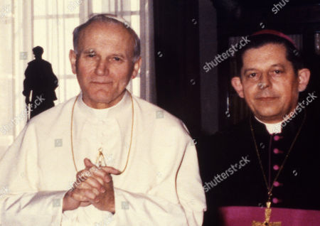 Pope John Paul II; Jozef Glemp; Karol Wojtyla Pope John Paul II, Head of the Roman Catholic Church is pictured at the Vatican on with Poland's Primate, Cardinal Jozef Glemp, right. The Pontiff was meeting leaders of Poland's Roman Catholic Church in talks on church strategy toward Poland's martial law regime