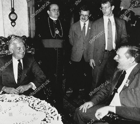 Lech Walesa, John Whitehead U.S. Deputy Secretary John C. Whitehead, left, meets with leader of the banned Solidarity trade union Lech Walesa, right, as others, unidentified, look on at St. Brygida's Church in Gdansk, Poland