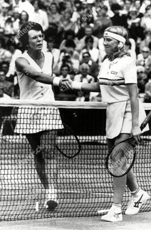 King Jaeger Billie Jean King, 39, and Andrea Jaeger, 18, shake hands across the net after their Women's Singles semi-final match on Wimbledon's center court in England, . Jaeger won the match, 6-1, 6-1, and will meet defending champion Martina Navratilova in Saturday's final