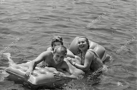 Gabor Hilton Hutner Entertainer Zsa Zsa Gabor, right, her fourth husband Herbert Hutner, and her daughter Francesca Hilton, partially obscured, cling to a floating lounge chair at Monte Carlo beach in Monaco