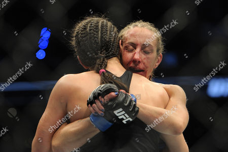 Stock Picture of Alexa Grasso of Mexico (L) and Heather Jo Clark of the United States (R) fight in their women's strawweight bout during the UFC Fight Night event