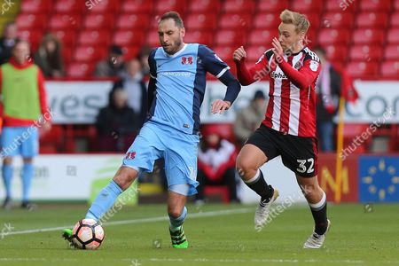 Stock Picture of Nicky Hunt of Leyton Orient and Harry Chapman of Sheffield United during Sheffield United vs Leyton Orient, Emirates FA Cup Football at Bramall Lane on 6th November 2016
