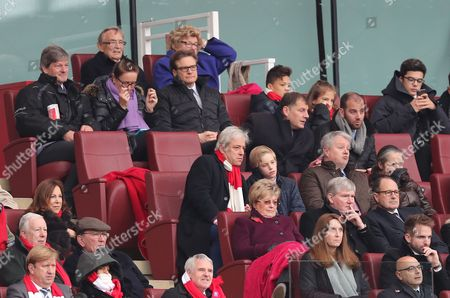 Some Famous Faces in the Arsenal Directors Box Actor Colin Firth,Speaker of the House John Bercow , Ex Arsenal Pat Rice and Ex Spurs and Arsenal manager George Graham    during   the Premier League match between  Arsenal and Spurs played at Emirates Stadium  London on 6th November 2016