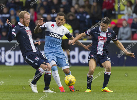 James Tavernier of Rangers with Liam Boyce (l) & Tim Chow (r) of Ross County during the SPFL Ladbrokes Premiership match between Ross County & Rangers at The Global Energy Stadium, Dingwall on 6th November