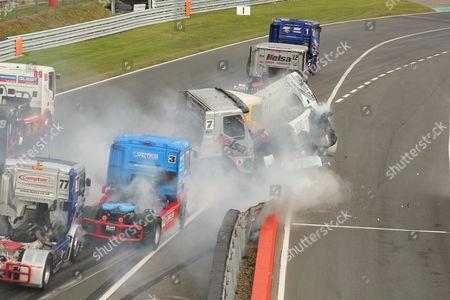 Stock Photo of Crash involving drivers Stuart Oliver (7), Richard Collett (95) and Luke Garrett (42)