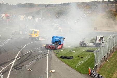 Stock Image of Crash involving drivers Stuart Oliver (7), Richard Collett (95) and Luke Garrett (42)