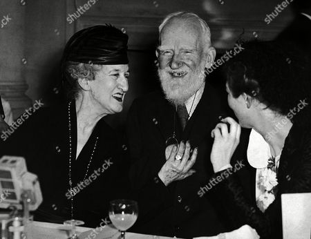 "George Bernard Shaw; Lady Asquith; Wendy Hiller Irish author and playwright George Bernard Shaw is amused by the story Lady Asquith, left, tells to him and Wendy Hiller on during the press luncheon at the Pinewood Club, Iver Heath, Buckinghamshire, United Kingdom to inaugurate the filming of Shaw's play ""Pygmalion"