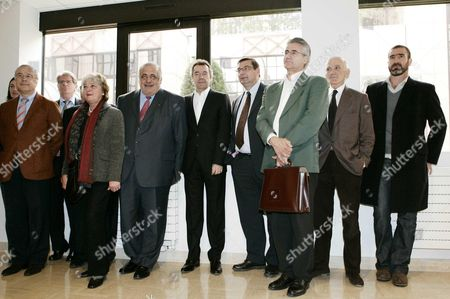 Board of directors of the French Football Foundation, including President Philippe Seguin, Michel Denisot, Jean-Francois Lamour, and Eric Cantona