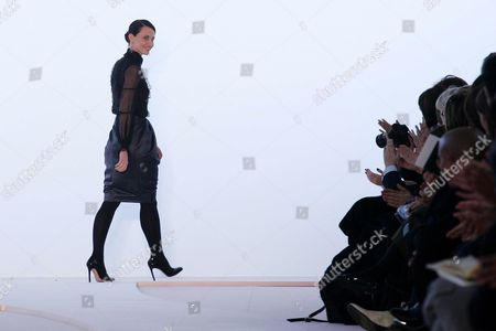 Valentino designer Alessandra Facchinetti on the catwalk at the end of the show