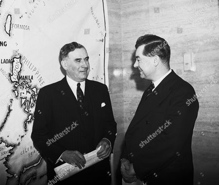 Stock Picture of Famous Australian newspaper proprietor Sir Keith Murdoch, left, with the Press Chief at the Ministry of Information Mr. Brebner, when he visited the ministry soon after his arrival in London on