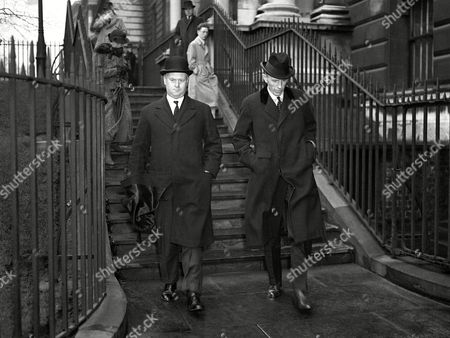 Minister for the Coordination of Defences Sir Thomas Inskip, left, and Lord Edward Halifax leaving No 10 Downing Street, London, after the meeting, on