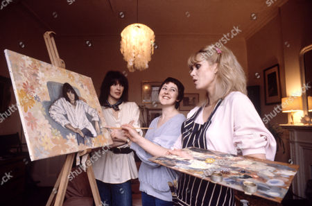 Joanna Lumley with friends Kate Fahey (L) and Jane Carr at Lumley's flat