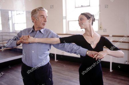Sir Frederick Ashton rehearsing with Linda Moran at Royal Ballet rehearsal studios