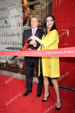 Catherine Zeta-Jones with Elizabeth Arden CEO Scott Beattie