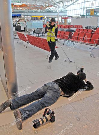Stock Image of Photographer Steve Parsons, Terminal 5, London Heathrow Airport