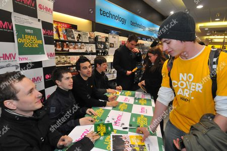 Editorial photo of Hard-Fi sign copies of new single 'I Should Overcome' at HMV, Staines, Middlesex, Britain - 10 Mar 2008