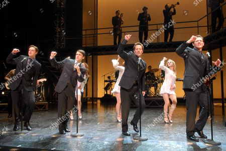 Stephen Ashfield (Bob Gaudio), Ryan Molloy (Frankie Valli), Glenn Carter (Tommy DeVito), and Philip Bulcock (Nick Massi)