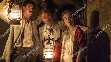 Amy Wren (as Evelyn), Max Irons (as Carter) and Sam Neill (as Lord Carnarvon)