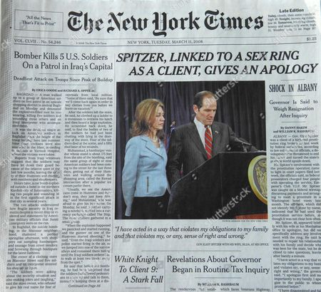Sensational headline on the cover of the New York Times covering the connection between New York Governor Eliot Spitzer and a prostitute named Ashley Alexandra Dupre, a 22-year-old aspiring singer
