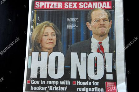 Sensational headline on the cover of the New York Post covering the connection between New York Governor Eliot Spitzer and a prostitute named Ashley Alexandra Dupre, a 22-year-old aspiring singer