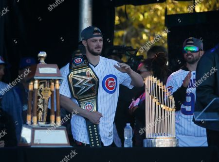 Chris Bryant Chicago Cubs' Chris Bryant is introduced to the crowd during a rally in Grant Park honoring the World Series baseball champions, in Chicago