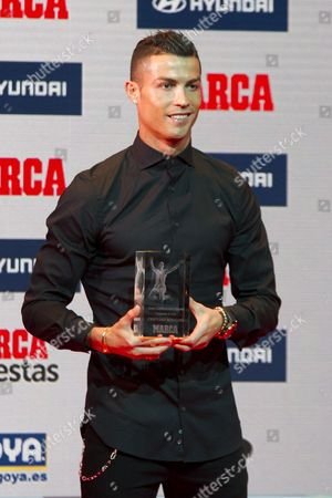 Cristiano Ronaldo receives the Alfredo Di Stefano Trophy for best player of the season