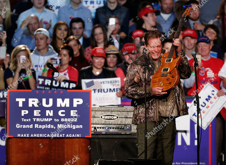 Ted Nugent Musician Ted Nugent performs at a campaign rally for Republican presidential candidate Donald Trump in Grand Rapids, Mich
