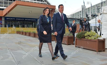Stock Image of Pm David Cameron Walks With Eastbourne Mp Caroline Ansell. Conservative Party Annual Conference Manchester Central Greater Manchester.