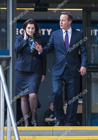 Pm David Cameron Walks With Eastbourne Mp Caroline Ansell. Conservative Party Annual Conference Manchester Central Greater Manchester.