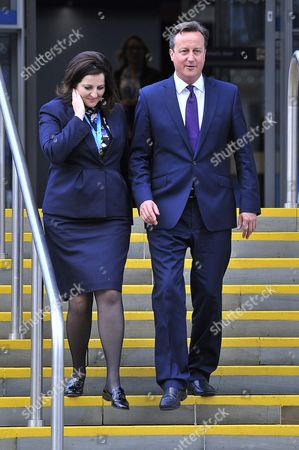 Editorial image of Pm David Cameron Walks With Eastbourne Mp Caroline Ansell. Conservative Party Annual Conference Manchester Central Greater Manchester.
