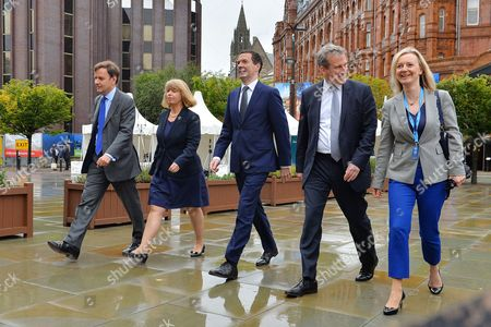 Editorial photo of Conservative Party Annual Conference Manchester Central Greater Manchester.- (l To R) Senior Treasury Ministers Greg Hands Harriett Baldwin Chancellor George Osborne Damien Hinds And Liz Truss Mp.