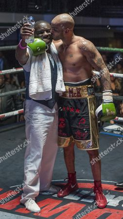 Leon Mckenzie Beats John Mccallum In An Eliminator For The British Super-middleweight Title. Leon With His Dad Clinton After Win. Boxing York Hall London.