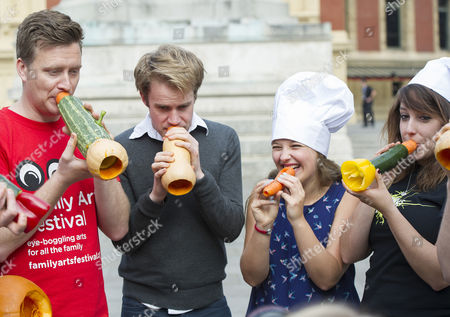 The Edible Orchestra Warms Up Ahead Of 'ratatouille In Concert'. Members Of The Royal Philharmonic Concert Orchestra Students At The Royal College Of Music And Musicians Of The London Vegetable Orchestra Are Pictured Playing Instruments Made Out Of Vegetables. Pictured: (l-r) Richard Ward Paul Cott Claire Graham And Kirsty Loosemore Play Their Instruments Made Out Of Vegetables.