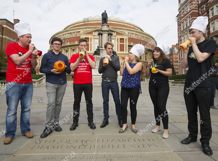 Editorial picture of The Edible Orchestra Warms Up Ahead Of 'ratatouille In Concert'. Members Of The Royal Philharmonic Concert Orchestra Students At The Royal College Of Music And Musicians Of The London Vegetable Orchestra Are Pictured Playing Instruments Made Out Of