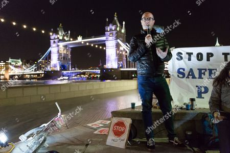 Andrew Gilligan, former London cycling czar speaking at the protest. Activists from 'Stop Killing Cyclists' and road safety campaigners staged a protest and vigil outside City Hall near Tower Bridge on the south bank to urge Mayor of London to take action to stop cyclists dying and ban dangerous HGV's from the capitals roads.