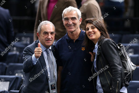Jean Gachassin ; Raymond Domenech ; Estelle Denis pose during the BNP Paribas Master at the AccorHotels Arena (POPB)