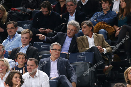 Nelson Monfort and friend attend during the BNP Paribas Master at the AccorHotels Arena (POPB)