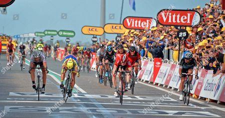 TdF15 Stg 2 Zeeland Andre Greipel, Lotto, Peter Sagan, Tinkoff-Saxo, Fabien Cancellara Trek Factory Racing, Mark Cavendish Etixx QS