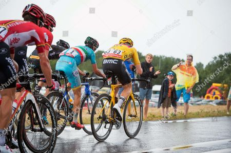 TdF 2015 Stage 2 Jung Ji-hoon - Race leader Rohan Dennis (BMC) and Vincenzo Nibali Winner 2014 TdF Italian Champion.