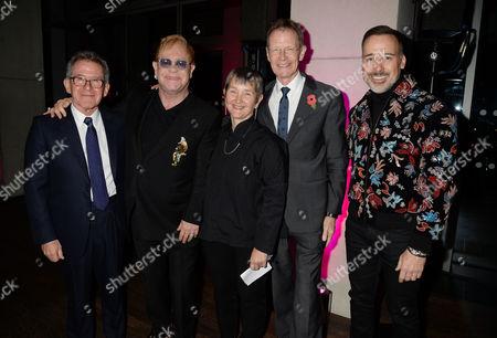 Lord John Browne, Sir Elton John, Frances Morris, Sir Nicholas Serota, David Furnish