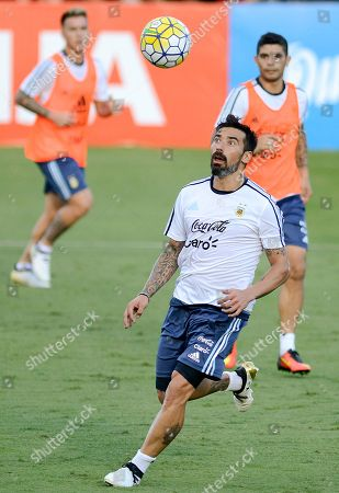 Argentina's Ezequiel Lavezzi practices during a training session in Belo Horizonte, Brazil, . Argentina will face Brazil in a 2018 World Cup qualifying soccer match on Thursday